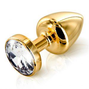 diogol metalen gouden buttplug swarovski